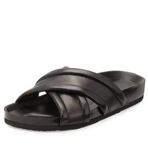 VINCE Orson black cross strap sandal